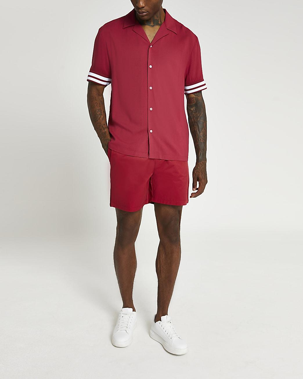 Red side stripe elasticated waist shorts