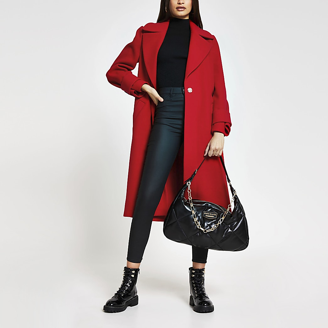 Red single breasted cuff detail coat