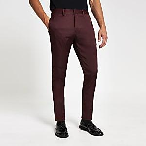 Rote Skinny Fit Anzughose mit Stretch