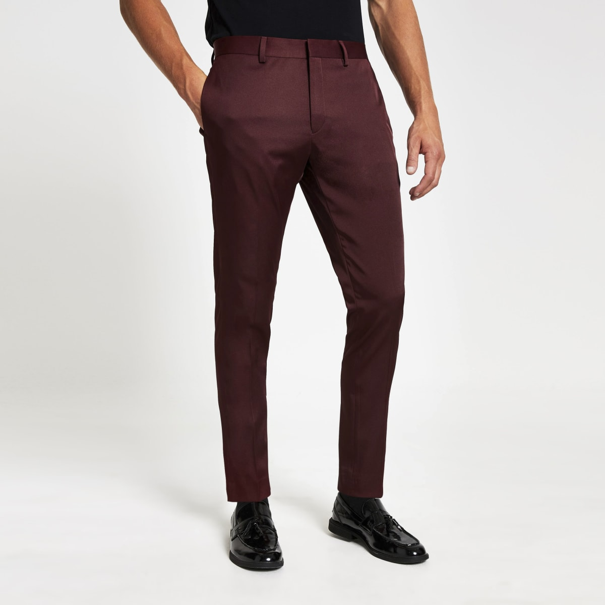 Red skinny stretch suit trousers
