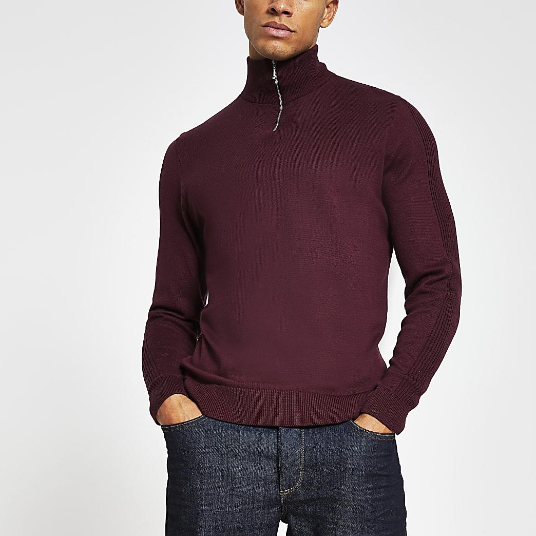 Red slim fit long sleeve funnel neck jumper