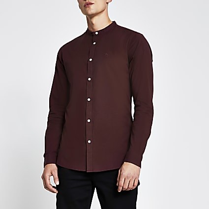 Red slim fit long sleeve oxford shirt