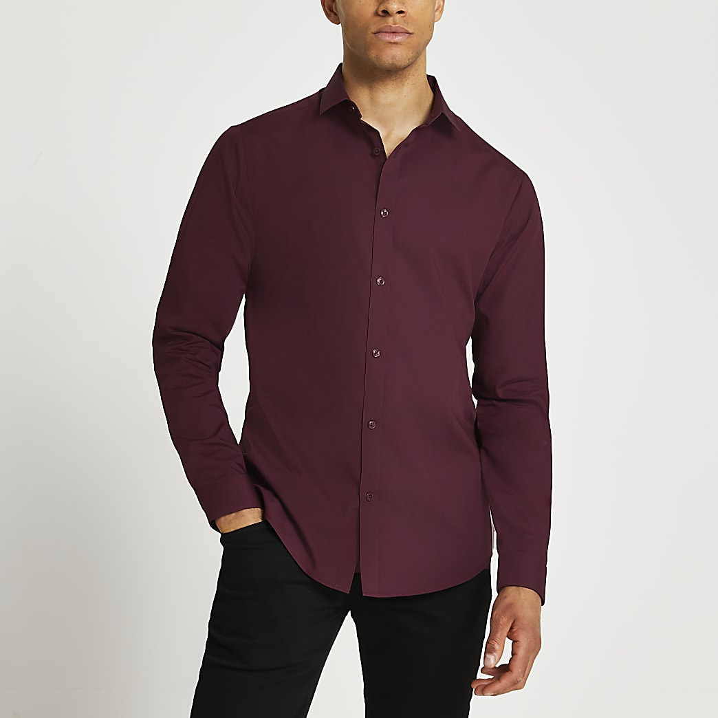 Red slim fit long sleeve shirt