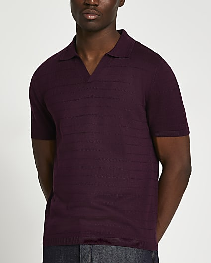 Red slim fit short sleeve polo shirt