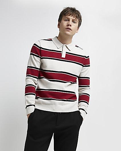 Red slim fit stripe polo shirt