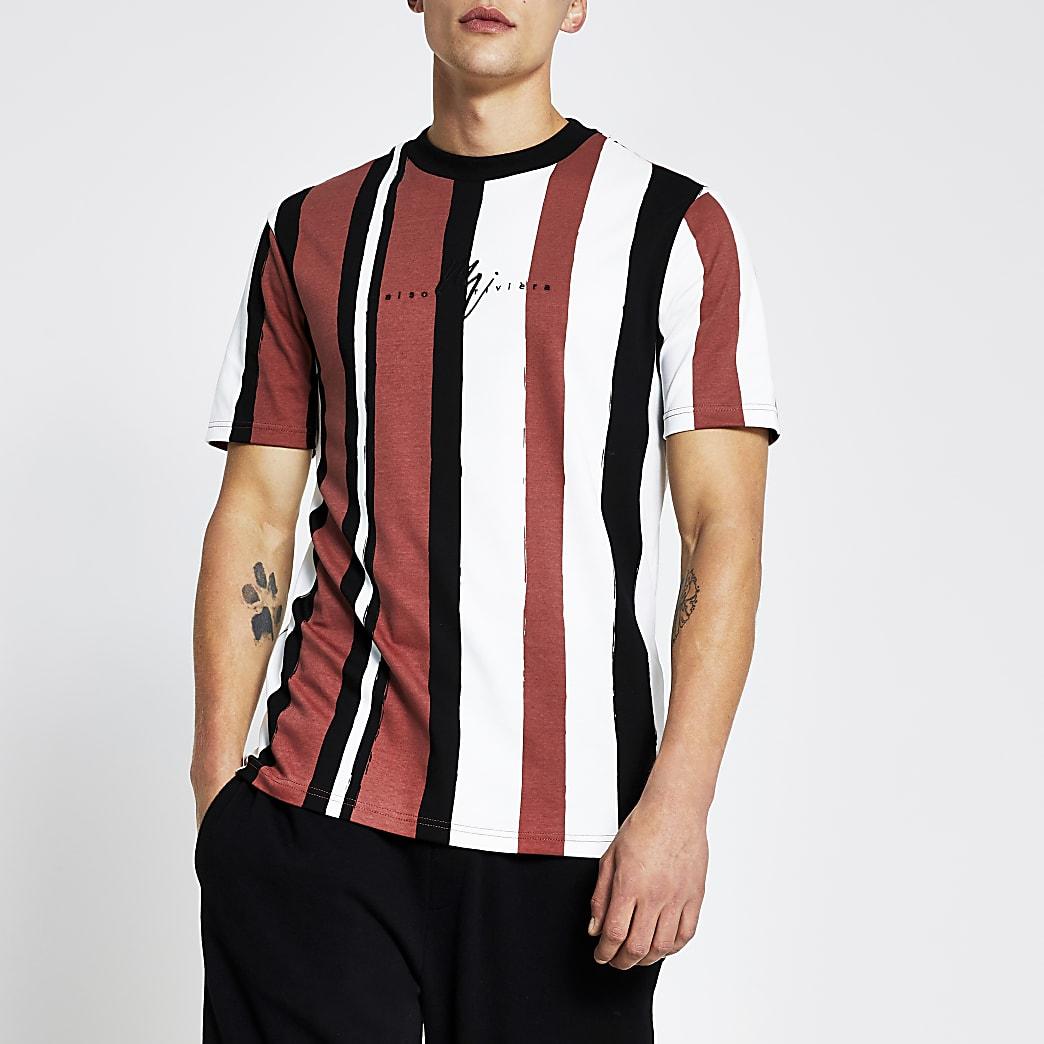 Red slim fit stripe t-shirt