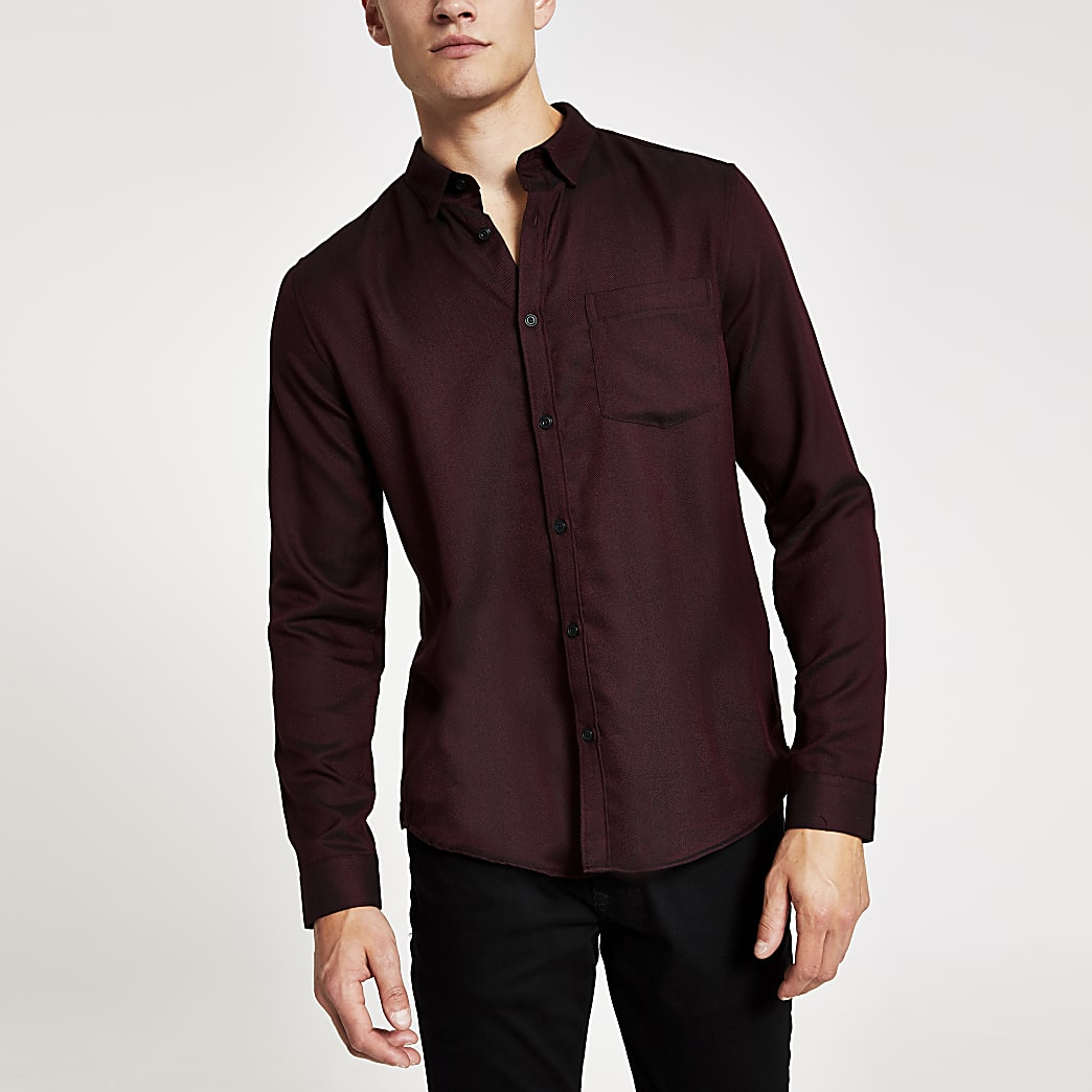 Red slim fit textured herringbone  shirt