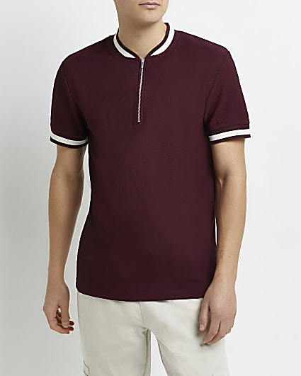 Red slim fit zip neck polo shirt