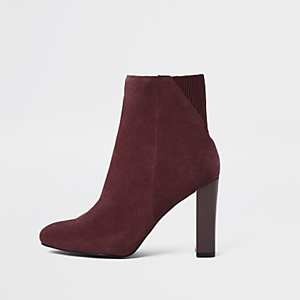 Red smart heeled ankle boots