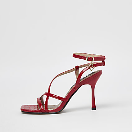 Red snake embossed strappy sandals