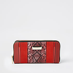 Red snake print blocked zip around purse