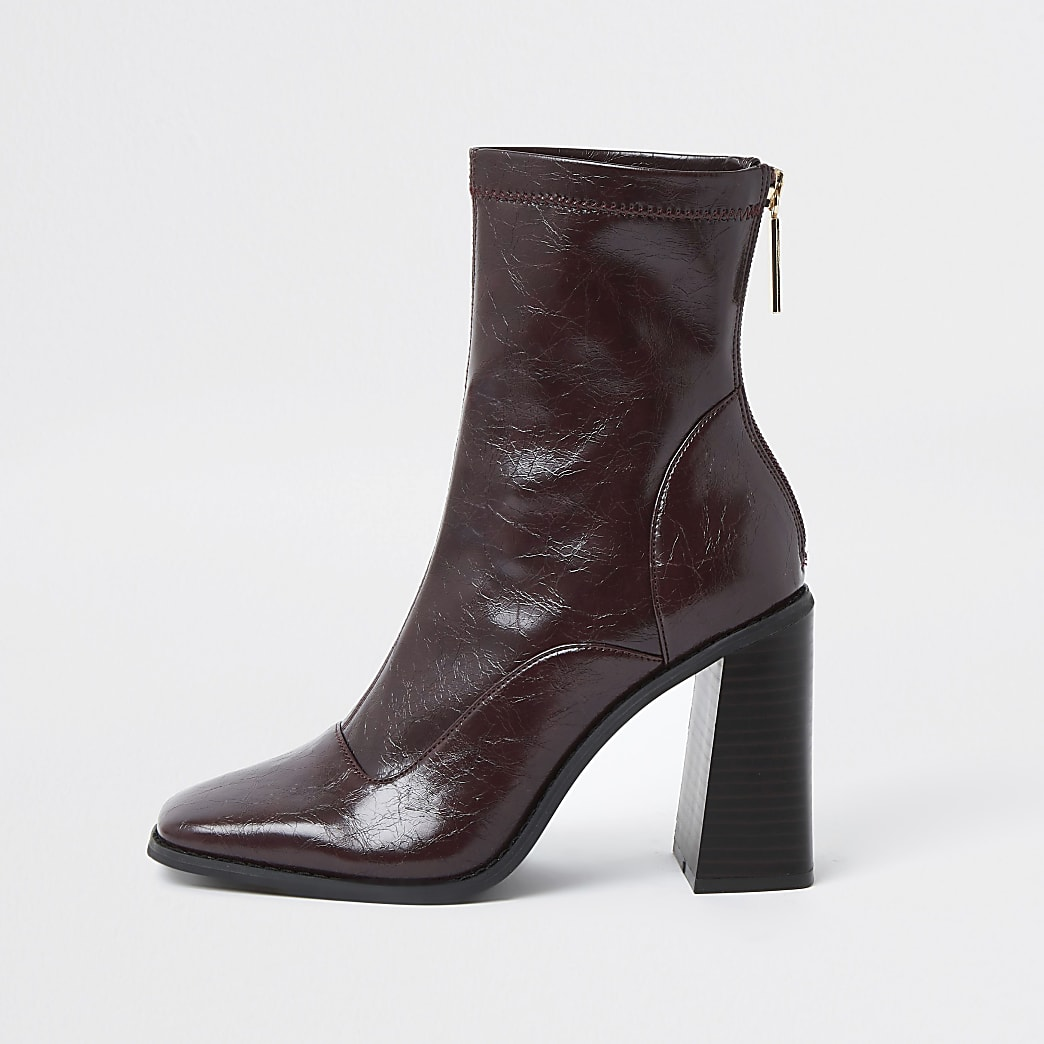 Red sock block heel ankle boots