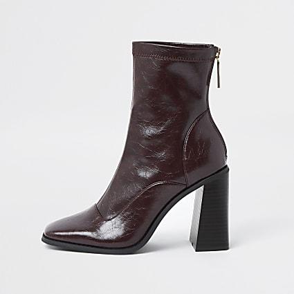 Red sock block heel boot