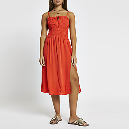 Red spilt front midi beach dress