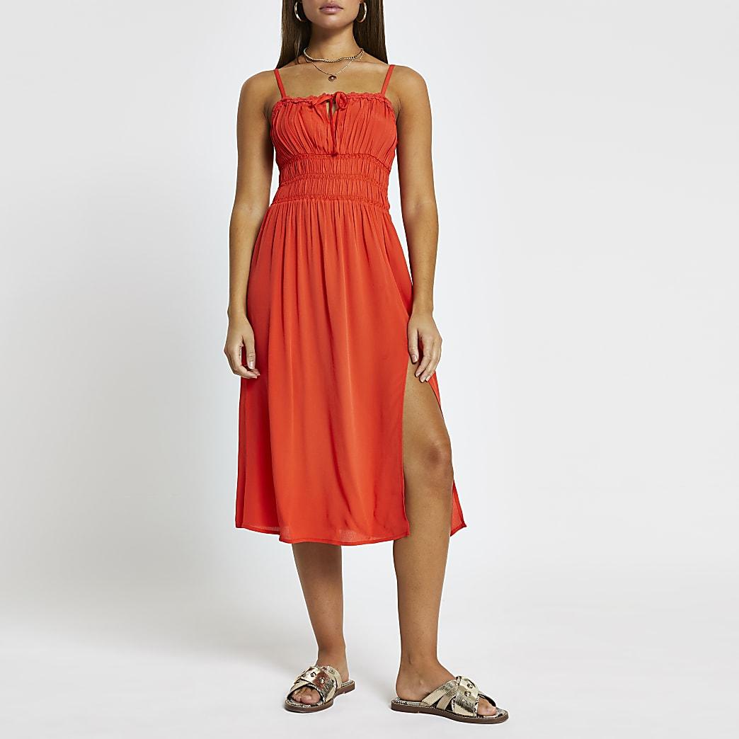Red spilt front midi beach dress