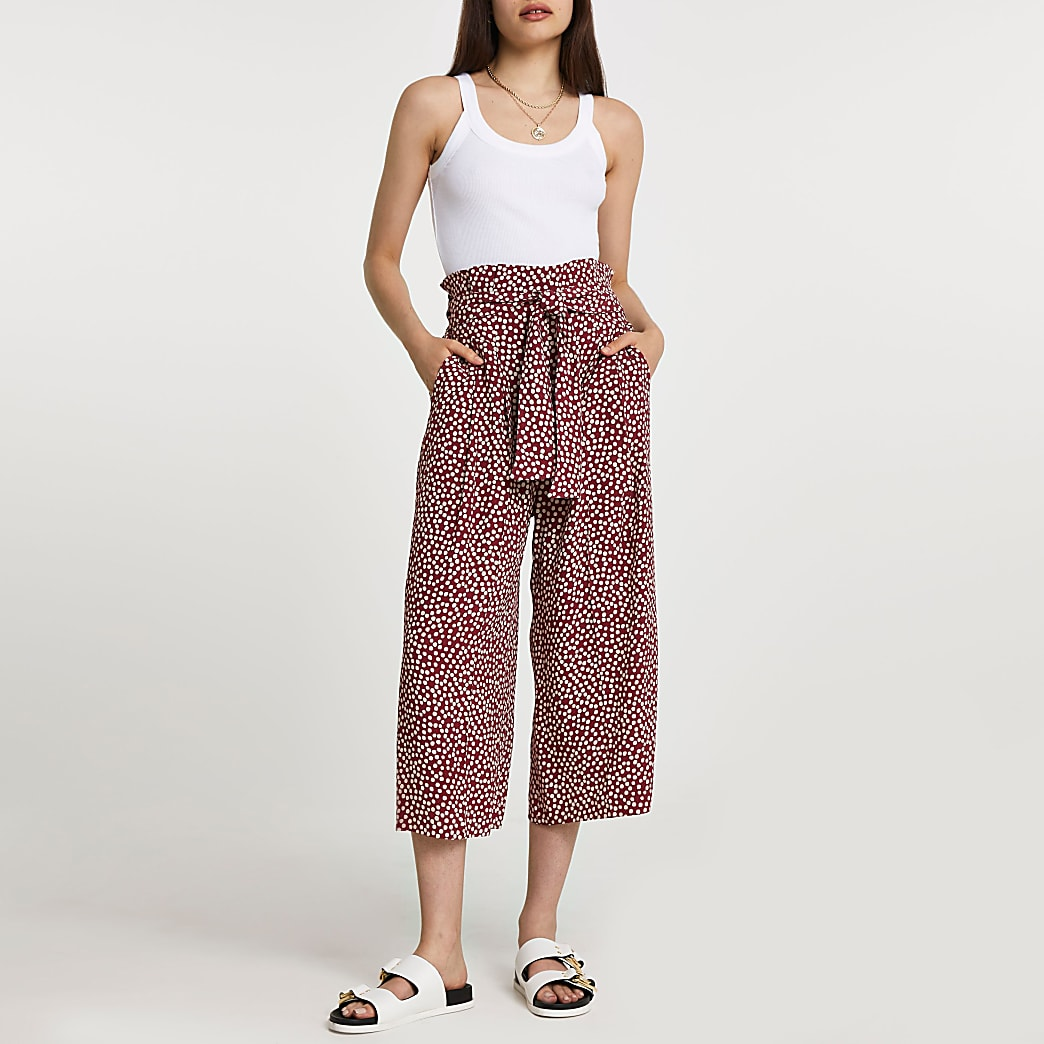 Red spot print belted culottes