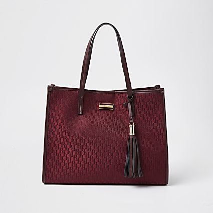 Red square RI jacquard shopper tote handbag