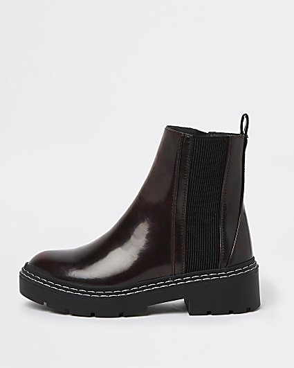 Red stitched detail chelsea ankle boots