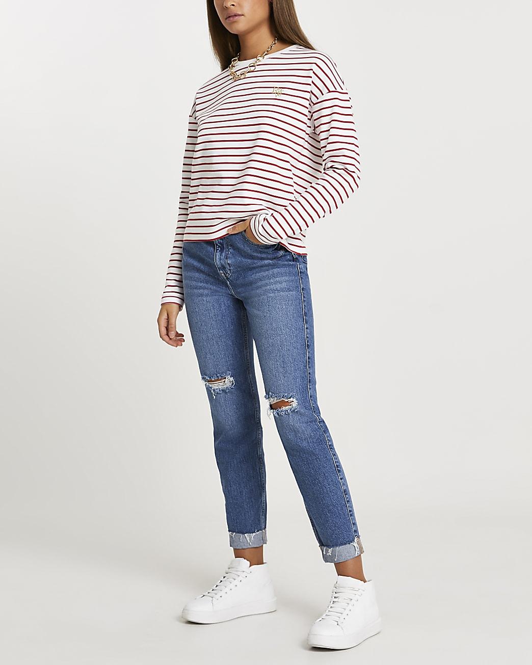 Red stripe long sleeve top
