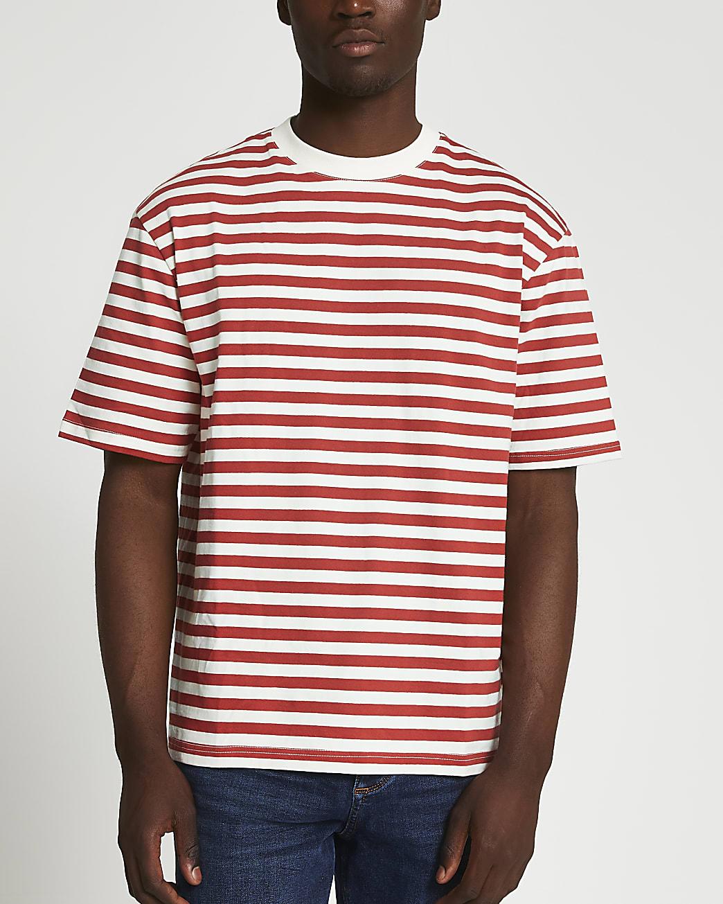 Red stripe oversized t-shirt