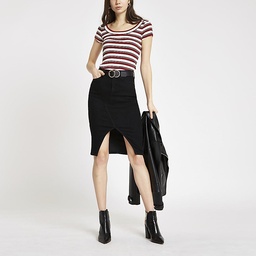 Red stripe scoop neck T-shirt