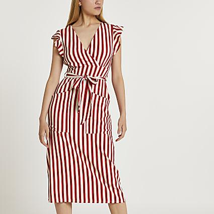 Red stripe tie waist midi dress
