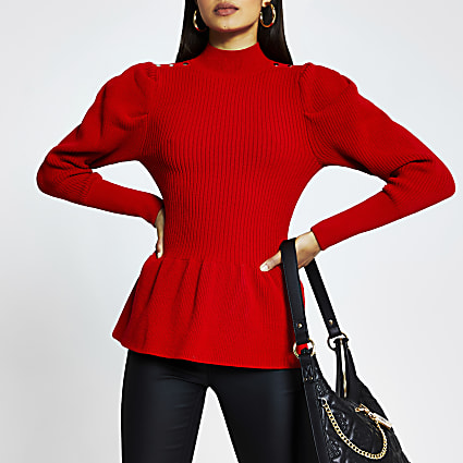 Red structured peplum jumper