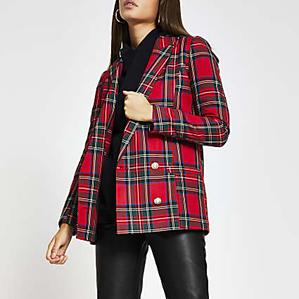 Red tartan button detail blazer