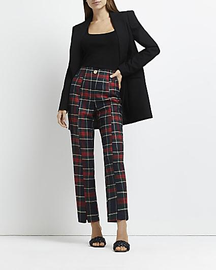 Red tartan cigarette trousers