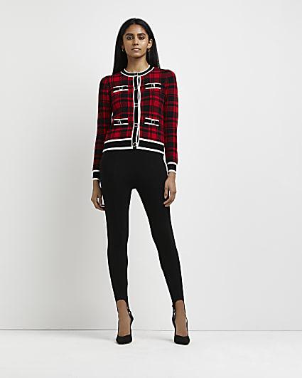 Red tartan knitted cardigan