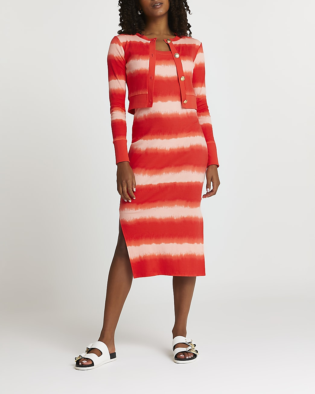 Red tie dye midi dress cardigan set
