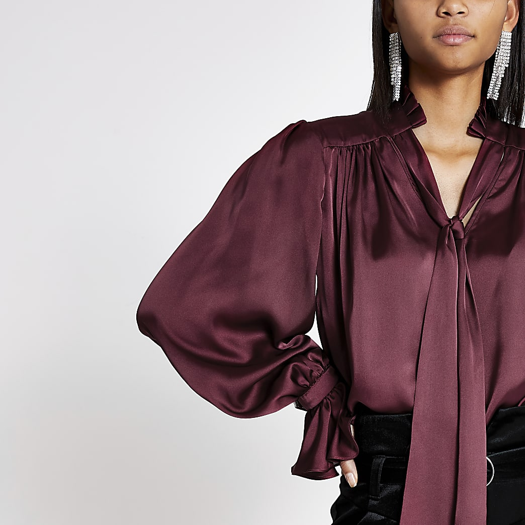 Red tie neck long sleeve satin top