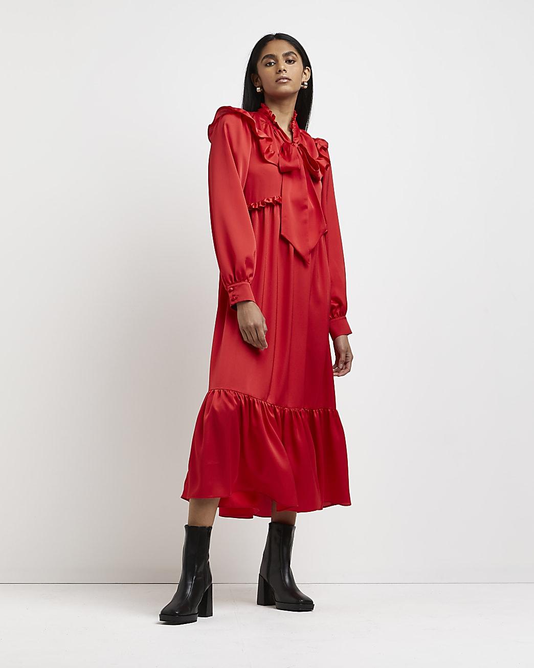 Red tie neck tiered midi dress