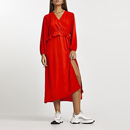 Red tie side frill midi long sleeve dress