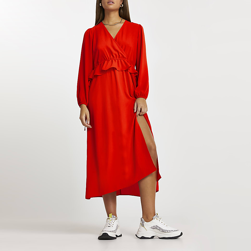 Red tie side frill midi long sleeve dress