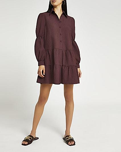Red tiered mini shirt dress