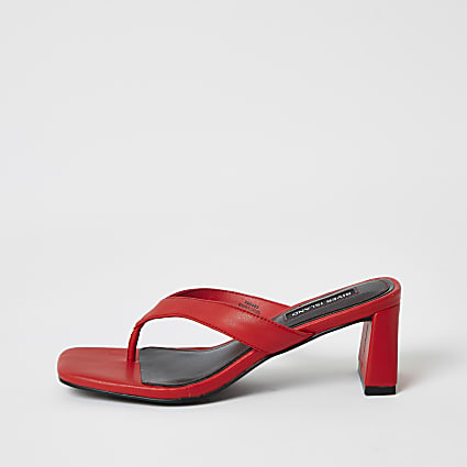 Red toe thong block heel sandals
