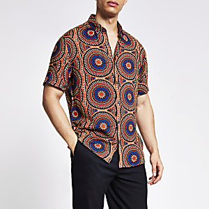 Rood regular-fit overhemd met tribal print