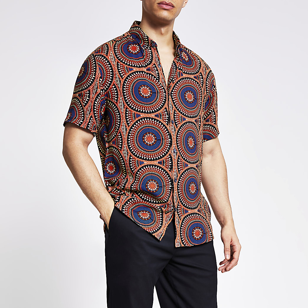 Red tribal printed regular fit shirt