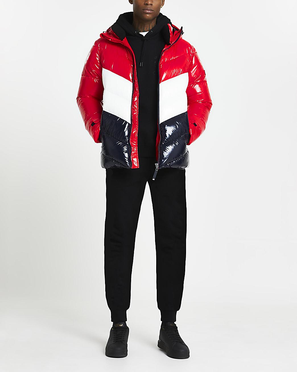 Red wetlook chevron design puffer jacket