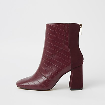 Red wide fit embossed block heel boots