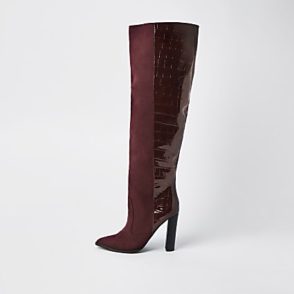 Red wide fit high block heel boots