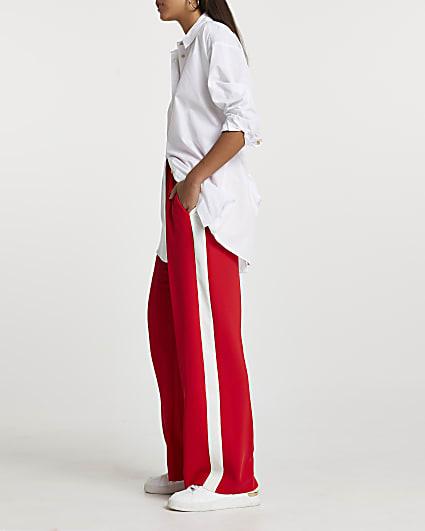 Red wide leg side stripe trousers