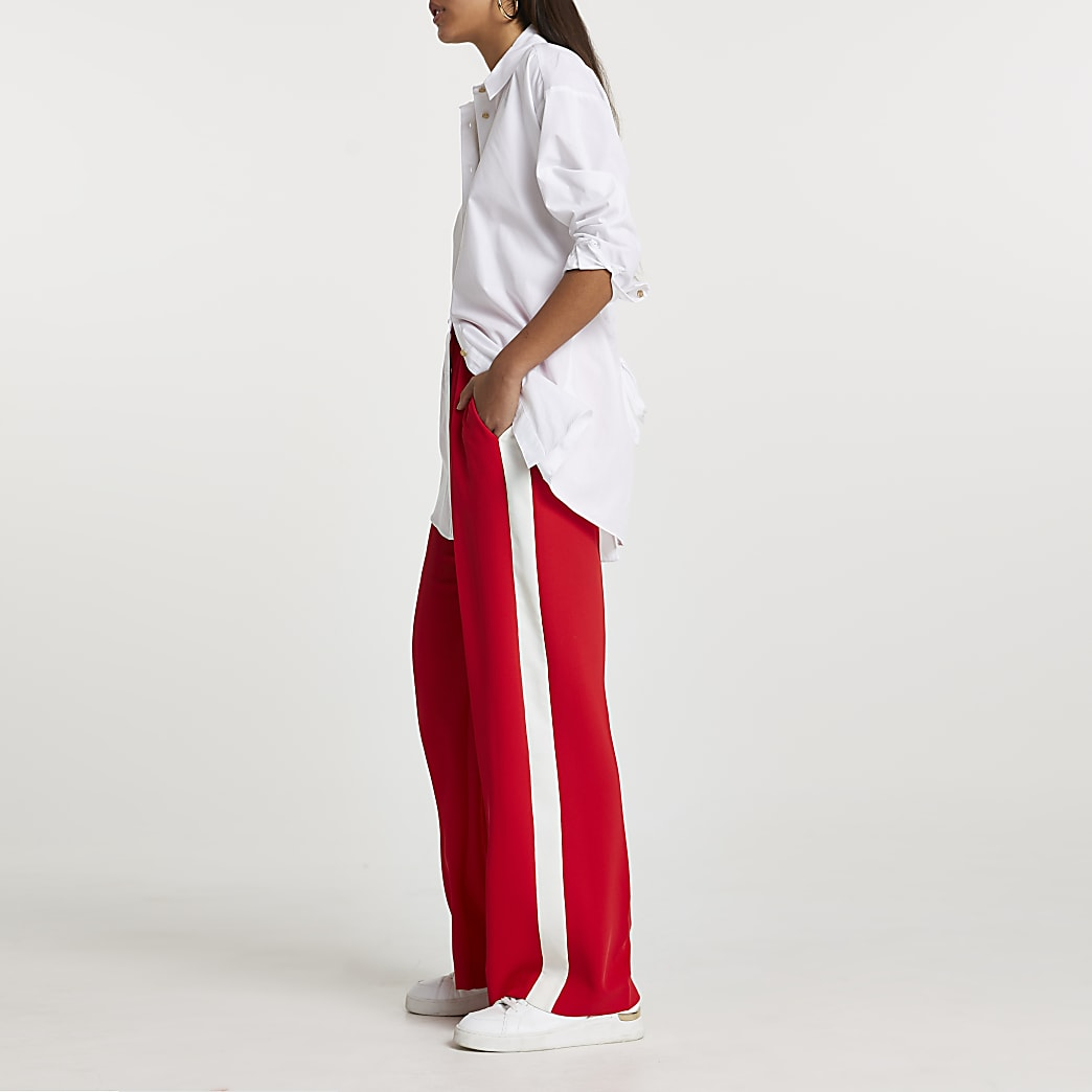 Red wide leg side stripe trousers