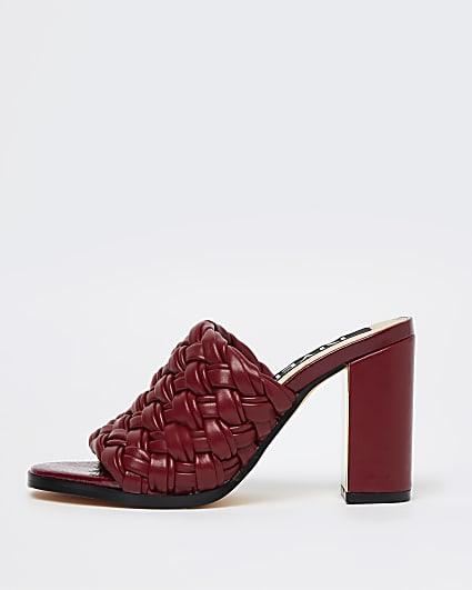 Red woven block heel mules