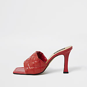Red woven square toe mule sandal