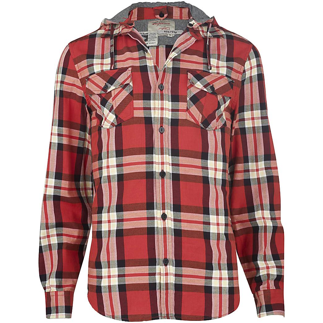 Rood geruit overhemd met capuchon