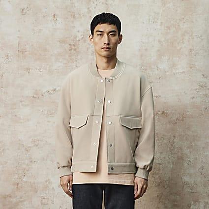 RI Studio beige oversized bomber jacket