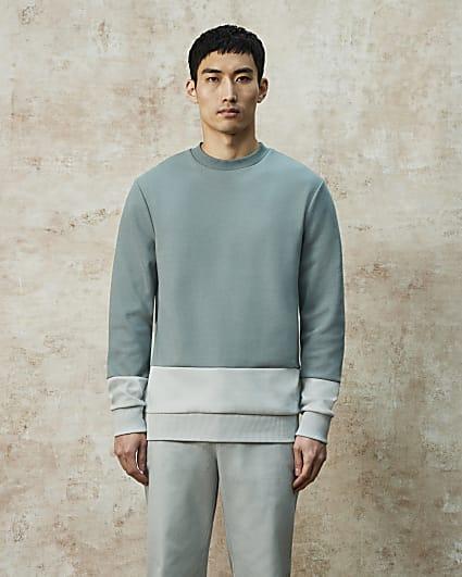 RI Studio green colour block sweatshirt