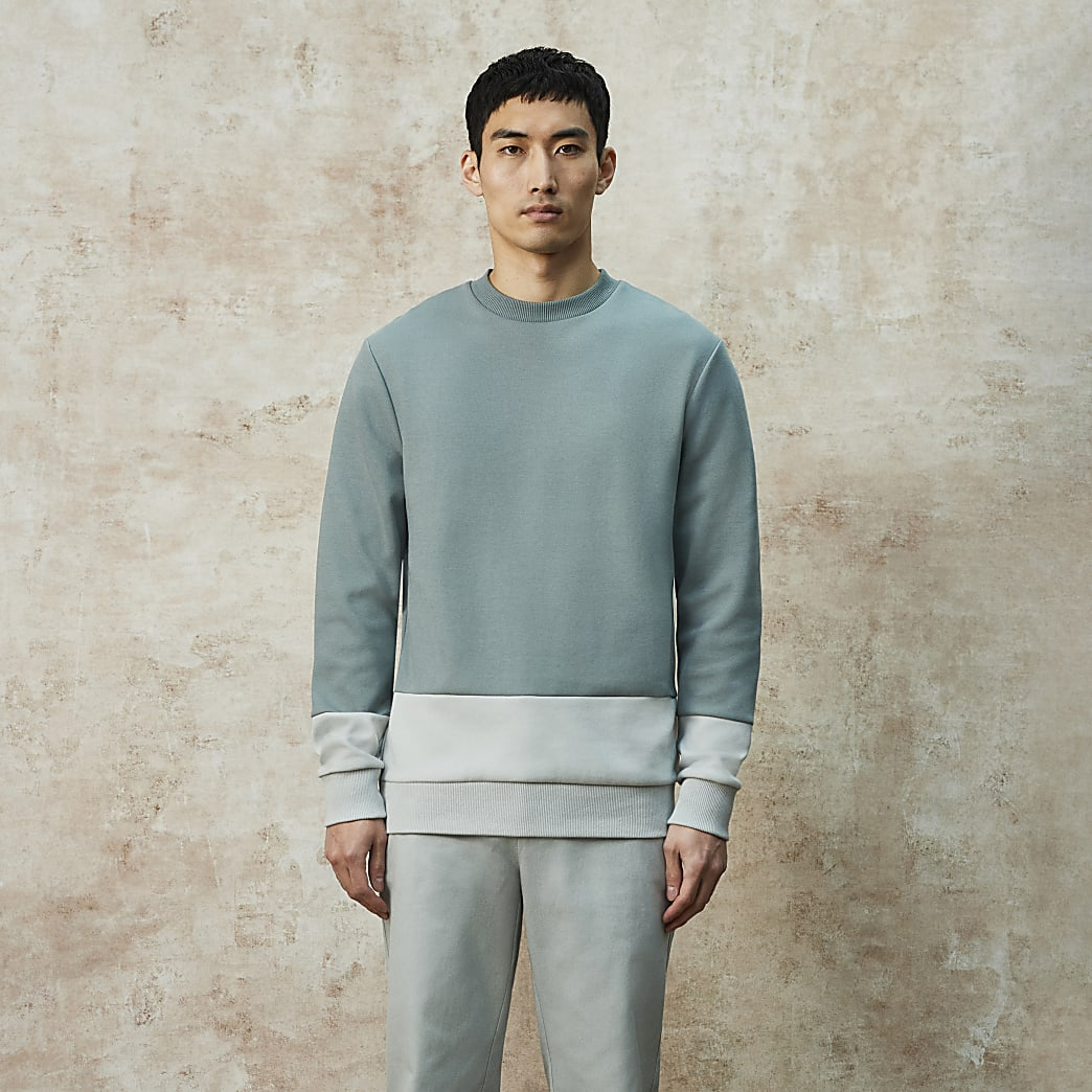 RI Studio green colour block sweatshirt